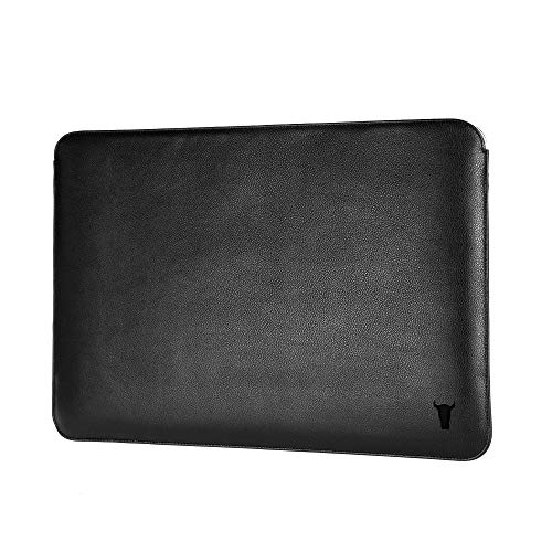 """TORRO Genuine Leather Laptop Sleeve Compatible with the 13"""" Apple MacBook Pro and MacBook Air [Felt Lined] [Slim Profile] (Black)"""