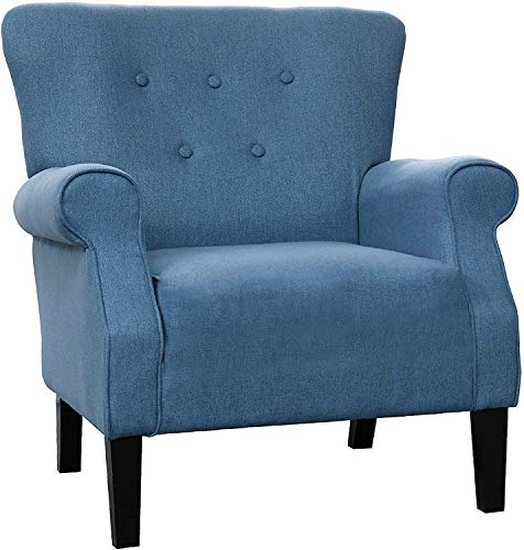 """LOKATSE HOME Modern Classic Accent Fabric Arm Chair, Linen Upholstered Single Sofa with Solid Wood Legs for Living Room, Bedroom, Club, 29.3""""x28.7""""x39.6"""", Blue"""