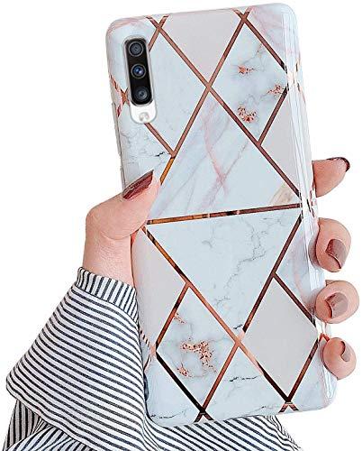 Saceebe Compatible avec Samsung Galaxy A70 Coque Etui Silicone 3D Géométrique Marbre Housse Léger Mince Flexible Étui Femme Fille Coloré Peint Housse Protection Slim Gel Cover,Blanc Or