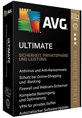 AVG Ultimate - 10 Geräte - 1 Jahr|VPN für privates Surfen, automat. Software-Updater|10 Geräte - 1 Jahr|10 Geräte - 1 Jahr|PC, Laptop, Smartphone, Mac|Download|Download