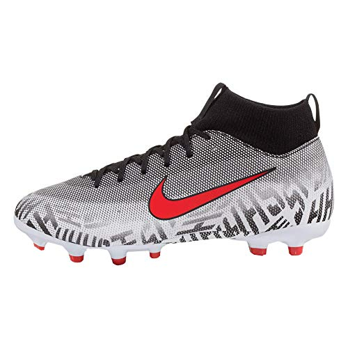 Nike Youth Neymar Superfly 6 Academy MG Soccer Cleats (White/Challenge Red/Black) (3.5Y)