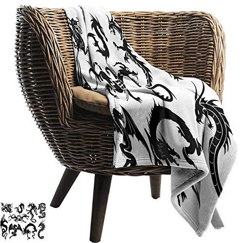 ZSUO gewogen deken voor kinderen Japanse Draak, Monochrome Doodle Sketch Art Roaring Gevaarlijke Monster Fantasie Mythologie, Zwart Wit Gooi Lichtgewicht Cozy Pluche Microvezel Effen Deken