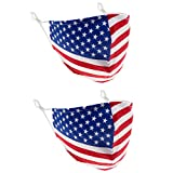 2 PCS Reusable Patriotic Face Mask with Filter Pocket, USA American Flag Stretch Cloth 100% Cotton Washable Face Masks, Dust Mask for Face Covering