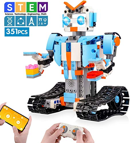 M\u0026amp;Ostyle Robot Science Kits STEM Remote Control Building Blocks Robot for Kids Remote Control Engineering Science Educational Building Toys Kits for Boys and Girls Electric RC Robot DIY T(Blue/351PCS)