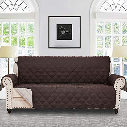 RHF Diamond Sofa Cover, Couch Cover, Couch Covers for 3 Cushion Couch, Couch Covers for Sofa, Sofa Covers for Living Room, Couch Covers for Dogs, Couch Protector(Sofa:Dark Chocolate/Beige)