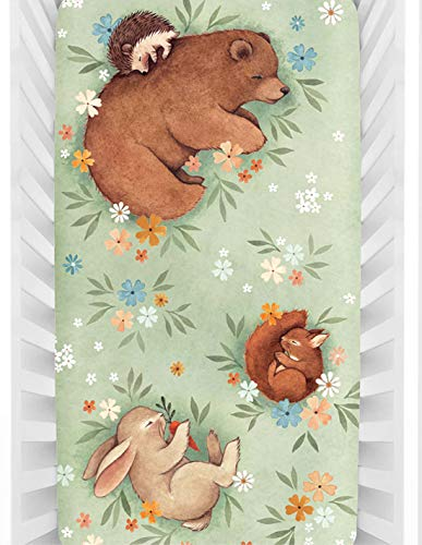 Rookie Humans 100% Cotton Sateen Fitted Crib Sheet: Enchanted Meadow. Floral Woodland Crib Sheet. Use as a Photo Background for Your Baby Pictures. Standard Crib Size (52 x 28 inches)