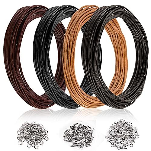 KONUNUS Cordón de cuero auténtico de 20 metros de ancho de 2 mm y 150 piezas de joyería para hacer joyas, pulseras, manualidades, collar y pulsera (café negro, marrón oscuro, natural)