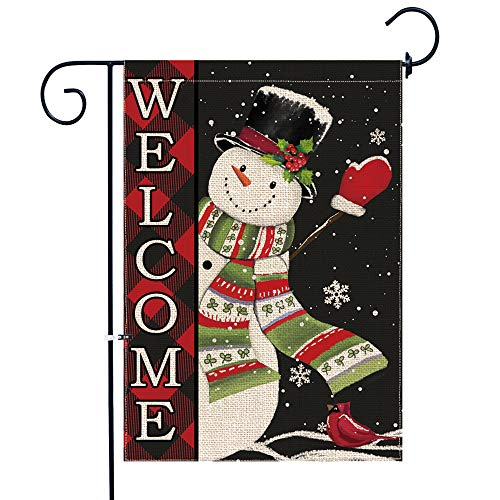 pinata Christmas Garden Flag Snowman Winter 12 x 18 Double Sided, Welcome Buffalo Plaid Christmas Decorations Yard Flag Small Burlap Holiday Seasonal Snowflake Outdoor Decorative Sign Outside Banner