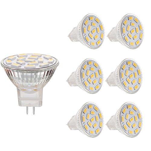 BOGAO (6 Pack) 3.5 W MR11 GU4.0 LED Lampe, 25-35W entspricht Halogenlampen mit, GU4.0-Sockel, AC/DC 12 V,350lm, 120° Flutlicht, Einbauleuchte, Bahnbeleuchtung, warmweiß(3000 K)