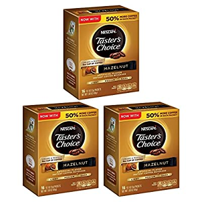 NESCAFE TASTER'S CHOICE Hazelnut Instant Coffee Beverage, 0.1 ounce 16 Count (3 packs)