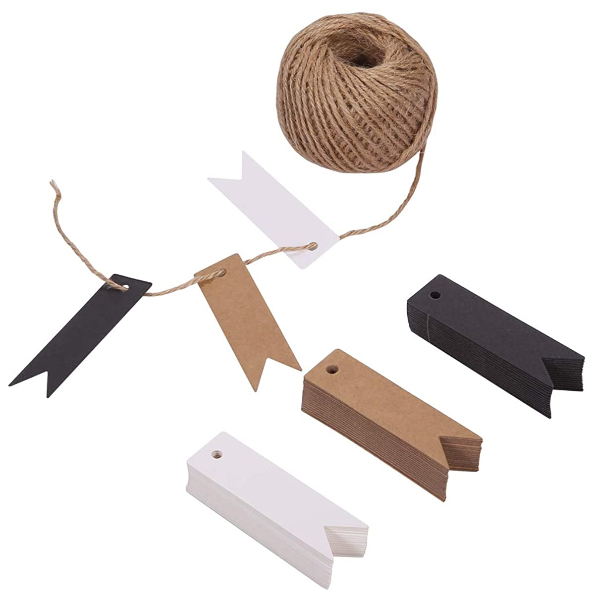 150ct Kraft Gift Paper Tags Labels with String Natural Jute Twine for Gift Wrapping Thank You Tag (3 Colors) (Fish Tail)