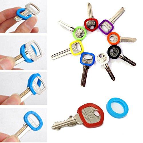 Bluelover 32Pcs Helle Farben Höhlen Silikon-Schlüsselkappe Abdeckungs-Deckel-Schlüsselring mit Bly Braille