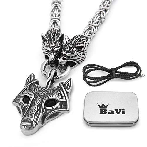 BaviPower Colgante de cabeza de lobo con cabeza de lobo fenrir y cadena de rey de acero inoxidable nórdico escandinavo collar auténtico vikingo.
