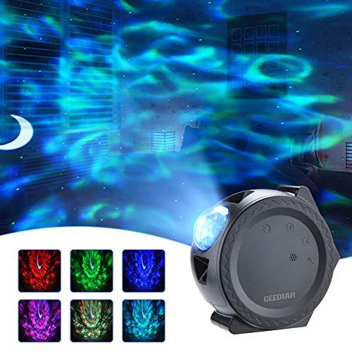 LED Projektor Sternenhimmel Lampe Projektionslampe mit Sprachsteuerungsfunktion Stern Mond/Wasserwellen-Welleneffekt/Nachtlicht für Kinder, Zimmer, Feiertage, Geburtstagsfeiern