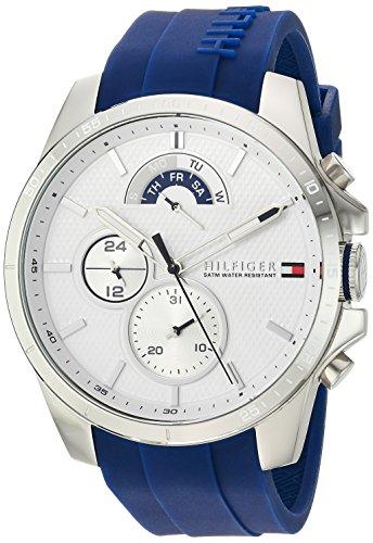 Tommy Hilfiger Herren Cool Sport \'Quarz Edelstahl und Silikon Casual Armbanduhr, Farbe: Blau (Modell: 1791349)