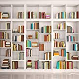 LYWYGG 8x8FT Bookshelf Backdrop Bookcase Backdrops Library Backdrop Office Backdrop for Video Conference Vintage Party Background Books CP-259-0808