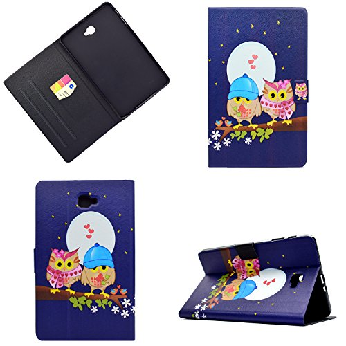Lspcase Funda para Samsung Galaxy Tab A6 10.1, Clásicos 3D Diseño Flip Case Piel Wallet Funda Piel Carcasa Cáscara Funda para Samsung Galaxy Tab A6 10.1 Pulgada SM-T580 SM-T585 Un Par de Búhos