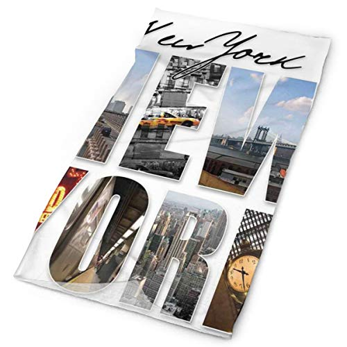 GUUi Headwear Headband Head Scarf Wrap Sweatband,New York City Themed Collage Featuring with Different Areas of The Big Apple in Manhattan Scenery Picture,Sport Headscarves for Men Women