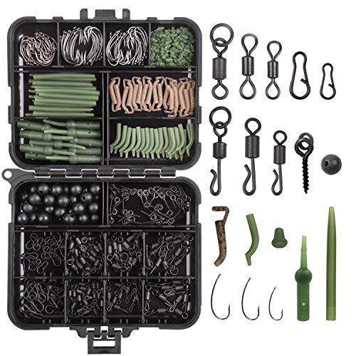 JOGFFDE Carp Fishing Tackle Box Kit - 420Pcs/Box Including Swivels Hooks Anti Tangle Sleeves Hook Stop Beads Boilie Bait Screw Leader Rigging