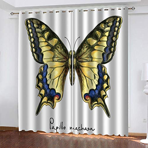 LUOWAN 3D Impresión Digital Cortinas de Opacas Fibra De Poliéster - 140x160 cm - Mariposa Animal Amarillo Hermoso 3 - Aislamiento Térmico Cortinas Sala De Estar Cocina para Sala Cuarto Comedor