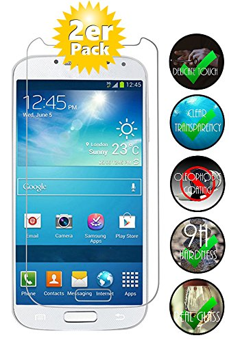 Smartphone Equipment [2er Pack] Panzerglas für Samsung Galaxy S4 Mini gehärtetes Glas 9H, Echtglas Glasfolie Glas Folie Schutzfolie Panzerfolie Displayschutz