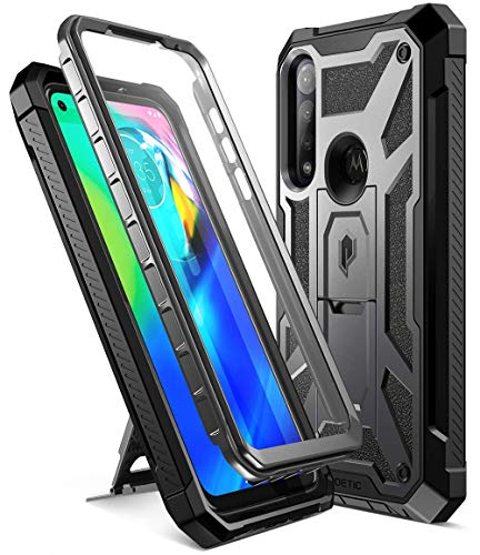 Poetic Spartan Case for Moto G Power (2020), [Not Fit 2021 Version & Moto G8 Power (International Version)] Full-Body Rugged Premium Shockproof Protective Cover with Kickstand, Metallic Gun Metal