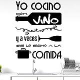 Docliick® Vinilos de pared decorativo con frase decorativa'YO COCINO CON VINO Y.' Pegatinas decorativas pared. Decoración casa Docliick DC-19134