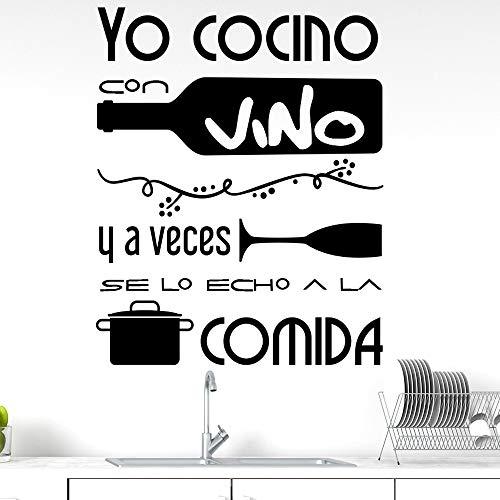 Docliick Vinilos de pared decorativo con frase decorativa'YO COCINO CON VINO Y.' Pegatinas decorativas pared. Decoración casa Docliick DC-19134