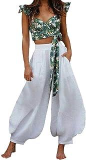 ANJUNIE Women Lace Plus Size Rope Tie Shorts Yoga Sport Wide Leg Pants Leggings Trousers