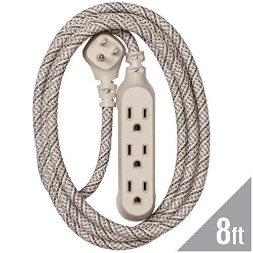 360 Electrical 360420 Habitat Harmony Braided Extension Cord, 8 ft. - French Grey