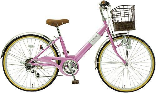 子供用自転車 24インチ シマノ6段変速 ステンレス泥除け 男の子 女の子 シティサイクル キッズバイク ジュニアサイクル NV246-PI ピンク