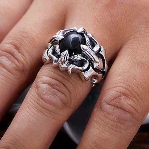 XIRENZHANG Anillo de plata 925 con diseño de flor cruzada, sintético, negro, ágata, plata, anillo rojo, moderno, anillo masculino, 17 # – 25 # 21 #