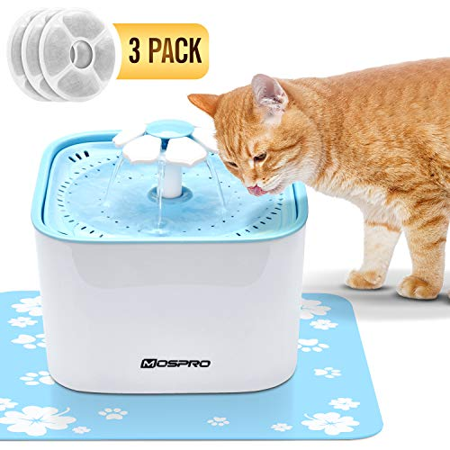 Pet Fountain Cat Water Dispenser - Healthy and Hygienic Drinking Fountain Super Quiet Flower Automatic Electric Water Bowl with 2 Replacement Filters...