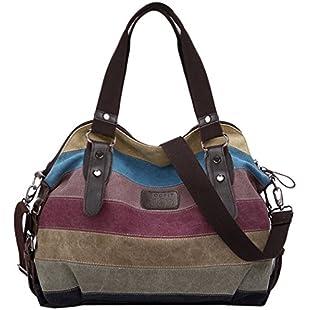 Womens Handbags,COOFIT Shoulder Handbags Striped Canvas Tote Crossbody Bags for Women:Priorcastleinnvictoria