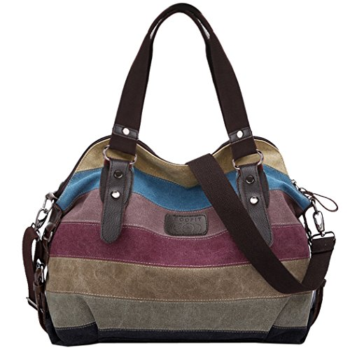 COOFIT Multi-Color-Striped Canvas Damen Handtasche/Umhängetasche Canvas Tasche Shopper Hobo Bag