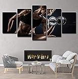 Leinwand Wandkunst 5 Stück Sport Im Freien Hantel-fitness Sexy Mädchen Moderne Home Sofa...