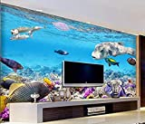 Murales de papel tapiz 3D Mundo submarino Acuario Dell Pez tropical Efecto 3D Papel tapiz no tejido Papel tapiz 3D Decoración-350cm×256cm