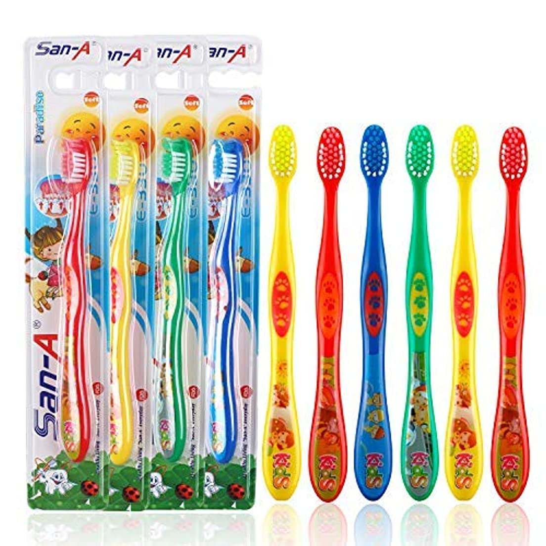パテ肉の膿瘍Mr. White Kids Toothbrush Featuring Cartoon Design Kids Toothbrush with Soft Bristles for Oral Care (6 Pcs) [並行輸入品]