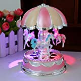 Xshuai 3-Horse Rotating Carousel Windup Music Box Merry-go-round with Colorful Change LED Luminous Light Melody of Castle in the Sky Artware Christmas Birthday Valentine Gift (Pink)