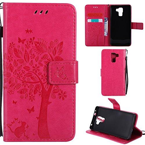 Ooboom® Huawei ShotX Hülle Katze Baum Muster Flip PU Leder Schutzhülle Handy Tasche Hülle Cover Standfunktion mit Kartenfächer für Huawei ShotX - Pink