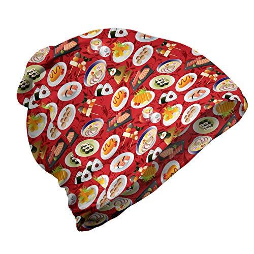 ABAKUHAUS Wasabi Berretto Cappello Unisex, Cartoon Japan Cuisine pasti, Morbido per Tutte Le Stagioni Escursionismo e attività All'aperto, Vermilion Multicolor