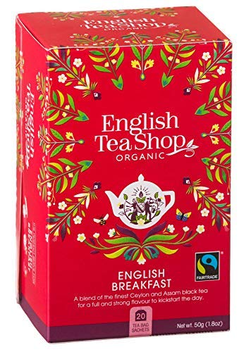 English Tea Shop Tè Nero Biologico English Breakfast Made in Sri Lanka - 1 x 20 Bustine di Tè (50 Grammi)