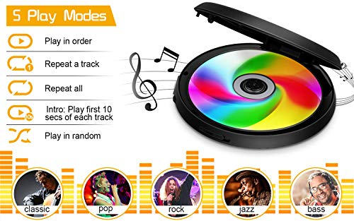 Portable CD Player with Wired Control Stereo Earbuds and 3.5mm Audio Cable, Jinhoo Rechargeable CD Player for car, FM Radio, Anti-Skip/Shockproof Protection Small Music MP3 Players 5