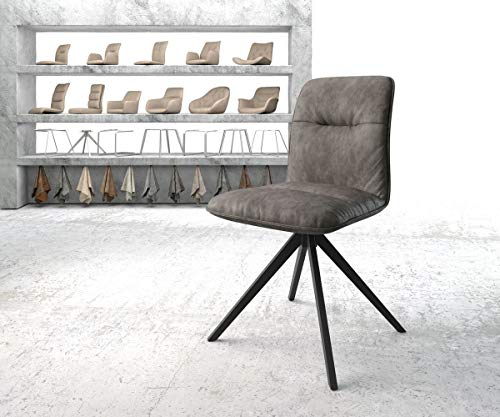 DELIFE Stuhl Vinjo-Flex Kreuzgestell drehbar schwarz Vintage Anthrazit