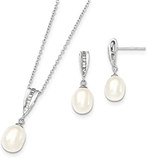 Sterling Silver 7-8mm White Freshwater Cultured Pearl Cubic Zirconia Necklace and Earrings Set