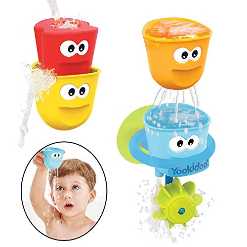 Yookidoo Baby Bath Toys - Fill 'N' Spill Set of Four Stackable Cups with Suction Cup Ring Holder and Water Wheel- Sensory Toy for Bath Time - Attaches to Any Bath Tub