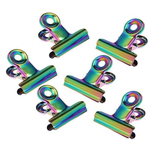 Anself Clips de Pellizco de Uñas Curva C Acrílico Pinzas de Uñas Herramienta para Pellizcar Uñas Herramienta de Manicura (metal arco iris)
