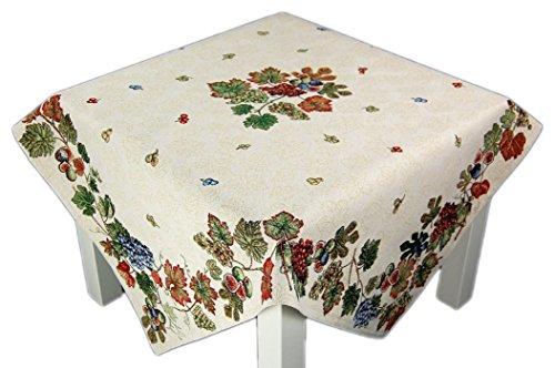 StiVoTex Elegante Tischdecke 97 x 97 cm eckig Gobelin beige Weinlaub Tischläufer Mitteldecke Herbst (Mitteldecke 97x97 cm)