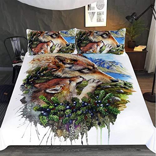 Juego de Ropa de Cama 3 Piezas Lobo Tres Piezas Home Bed Set Print Es Y Liviana Funda de Almohada de poliéster Ultra Suave Fundas 140cm x 200cm