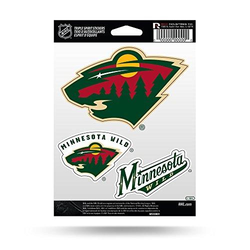 NHL Rico Industries  Die Cut 3-Piece Triple Spirit Sticker Sheet, Minnesota Wild